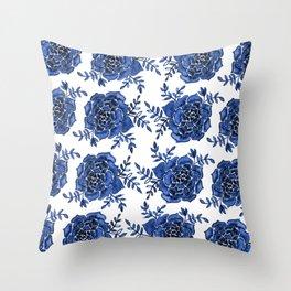 Watercolor houseleek - blue Throw Pillow