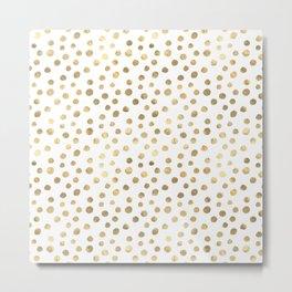 White & Golden Dots Metal Print