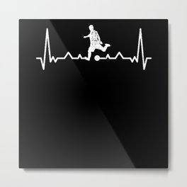 Soccer Heartbeat Soccer Player Gift Present Idea Metal Print