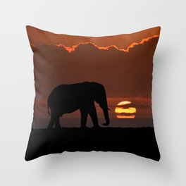 Elephant At Sunset Throw Pillow
