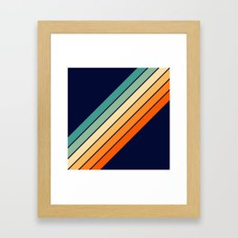 Farida - 70s Vintage Style Retro Stripes Framed Art Print