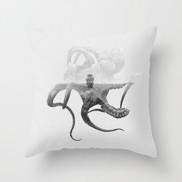 Octopus Vulgaris (Octopus & Ship) BW Throw Pillow