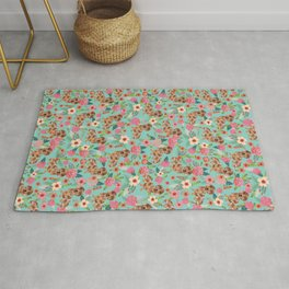 Dapple Dachshund cream doxie lover floral must have gifts dachsie flowers Rug