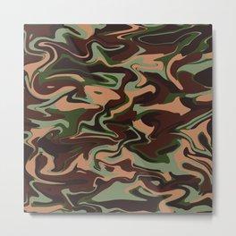 Marble Pattern Green Brown Camo Metal Print