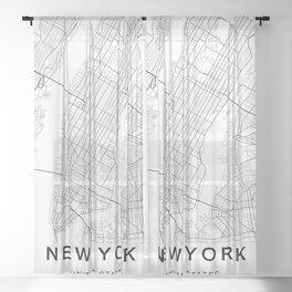 New York Map, Manhattan, USA City Map Sheer Curtain
