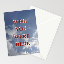 Wish You Were Here Sky Quote Red Stationery Cards