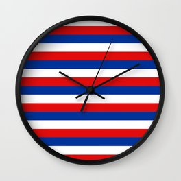 blue white red stripes Wall Clock