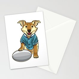 Dog guards Rugby Ball Stationery Cards