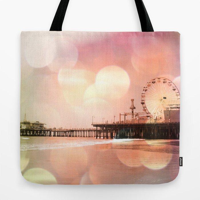 Sparkling pink Santa Monica Pier Tote Bag by Christine aka stine1