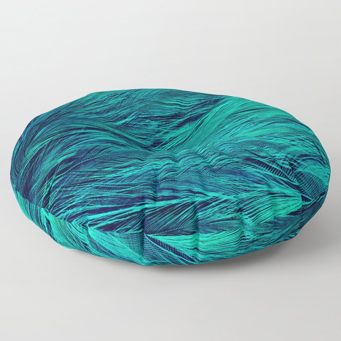 Teal Feathers Floor Pillow