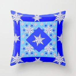 DECORATIVE BABY BLUE SNOW CRYSTALS BLUE WINTER ART Throw Pillow