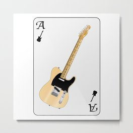 Electric Guitar Playing Card Metal Print