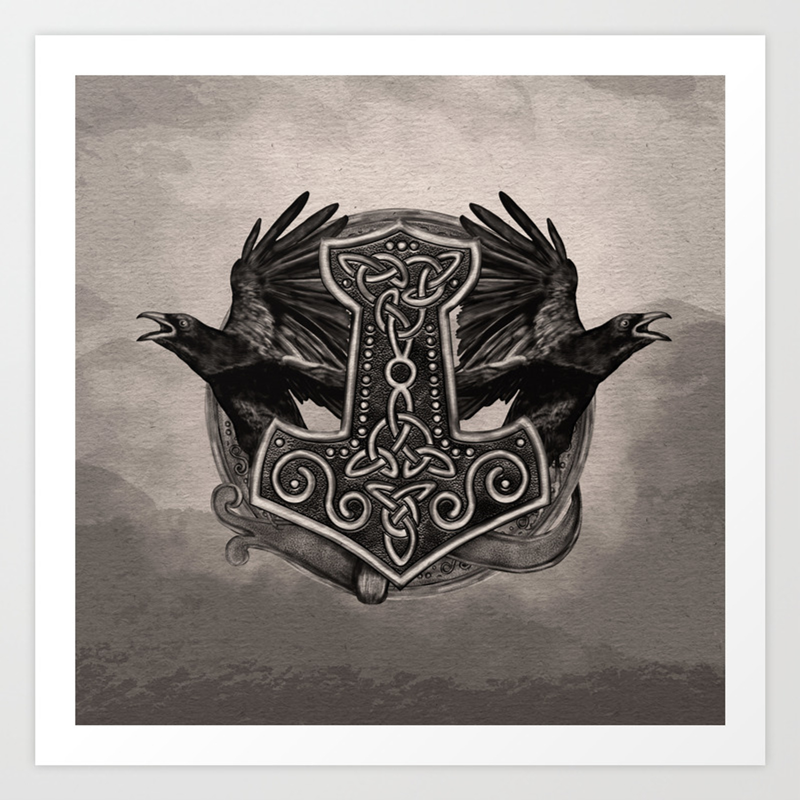 Mjolnir The Hammer Of Thor And Ravens Art Print By K9printart