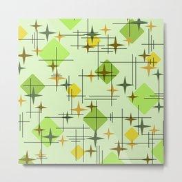 MidCentury Modern Pattern Chartreuse Citrus Metal Print