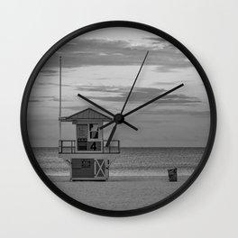 Clearwater Beach Florida Lifeguard Hut Tampa Bay Ocean Black White Print Wall Clock