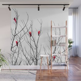 Artistic Bright Red Birds on Tree Branches Wall Mural