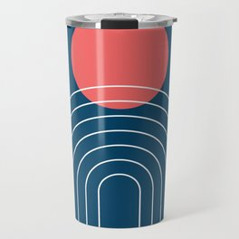 Mid Century Modern Geometric 14 (in Midnight Blue and Coral) Travel Mug