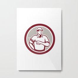 Tiler Plasterer Mason Masonry Worker Circle Metal Print
