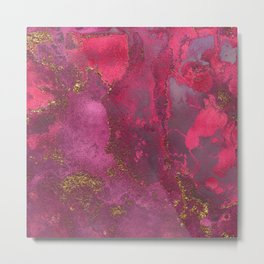 Pink and Gold Blush Rose Glitter Gemstone Marble Metal Print
