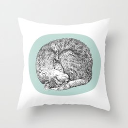Curled Cat Throw Pillow