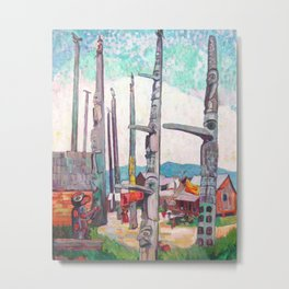 Emily Carr - Totem Poles, Kitseukla - Canada, Canadian Oil Painting - Group of Seven Metal Print