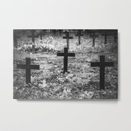 Old crosses in a cemetery Metal Print