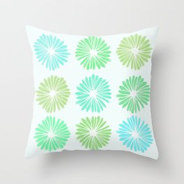 Playful Flowers in Greens Throw Pillow