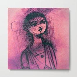 Charcoal Pink Metal Print