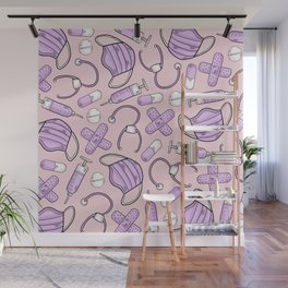 Pastel Medical Pattern - Doctor and Nurse Theme - on Pink Wall Mural