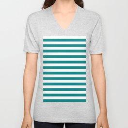 Narrow Horizontal Stripes - White and Dark Cyan Unisex V-Neck
