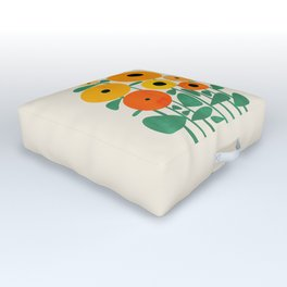 Sunflower and Bee Outdoor Floor Cushion