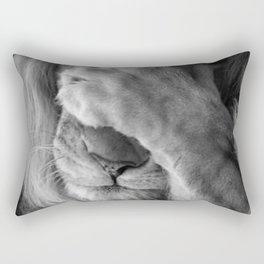 Even Lions Have Bad Days - The Lion Sleeps Tonight black and white photograph  Rectangular Pillow