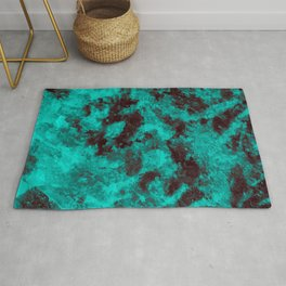 Black - Ice Blue Abstract Texture Rug