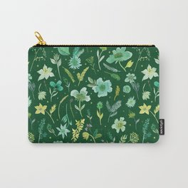Verdant Flowers on Dark Green Background Carry-All Pouch