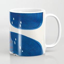 Fun Mid Century Modern Abstract Minimalist Vintage Navy Blue Brush Strokes Minimal Shapes Coffee Mug