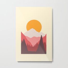 Pink Mountain Forest Sunrise Metal Print