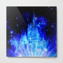 Celestial Palace Enchanted Castle Blue pink Metal Print