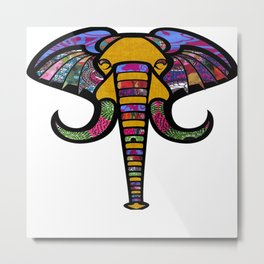 Retrocultural elephant head Metal Print