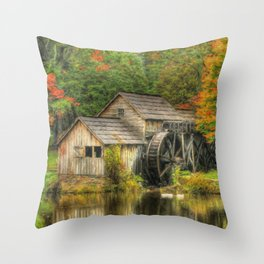 A Mabry Mill Autumn Throw Pillow