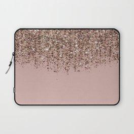Blush Pink Rose Gold Bronze Cascading Glitter Laptop Sleeve