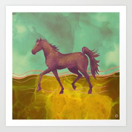 Wild Horse in the Burning Desert - Climate Change Awareness Art Print
