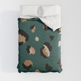 Teal Leopard Print Comforters