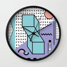 Memphis Pattern - 80s Retro - Pastel Colors Wall Clock