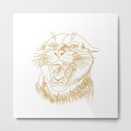 the head of a tiger . Gold ( https://society6.com/vickonskey/collection ) Metal Print