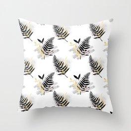 Black, Gold, Silver, Blush Pink Foliage on White Throw Pillow