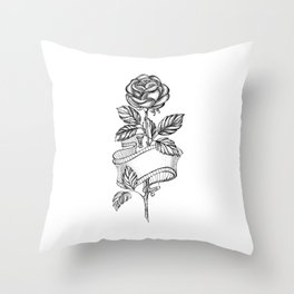 Rose Sketch with Ribbon Throw Pillow