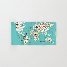 Cartoon animal world map for children and kids, Animals from all over the world back to school Hand & Bath Towel