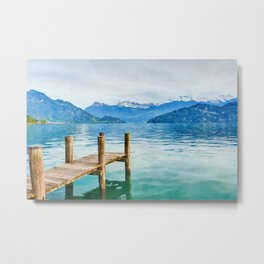 Pier on the lake watercolor painting  Metal Print