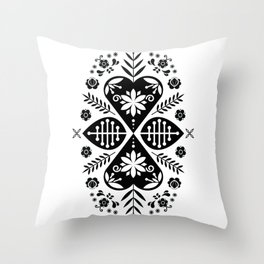 Monochrome Scandi Folk Pattern Art Throw Pillow