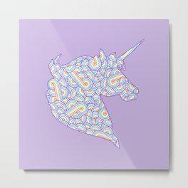 Rainbow and white swirls doodles Metal Print